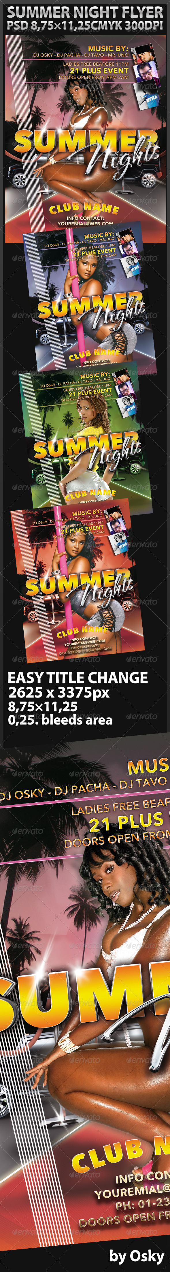 Graphic River Summer Night Party Print Templates -  Flyers  Events  Clubs & Parties 240892