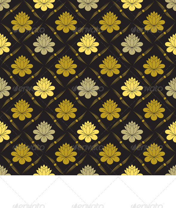 Vector Seamless Gold Floral Pattern - Patterns Decorative