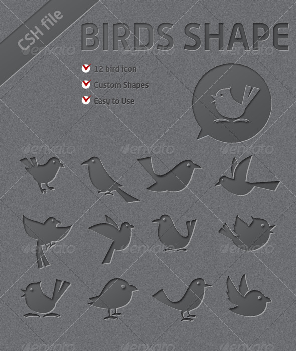 12 Custom Bird Shapes You Can Use it for Twitter - Animals Shapes
