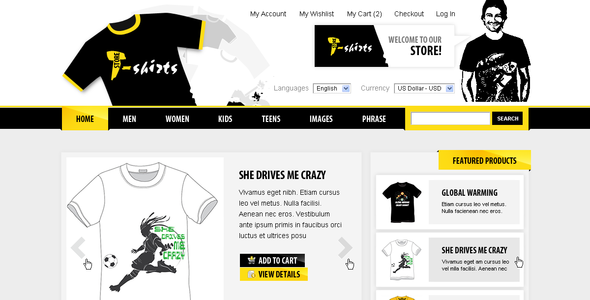 T-shirts magento - ThemeForest Item for Sale
