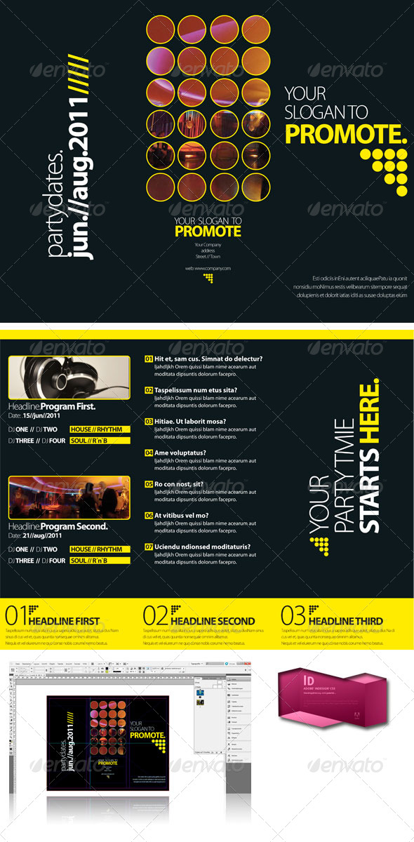 Black club trifold brochure indesign template graphicriver for Indesign templates for brochures