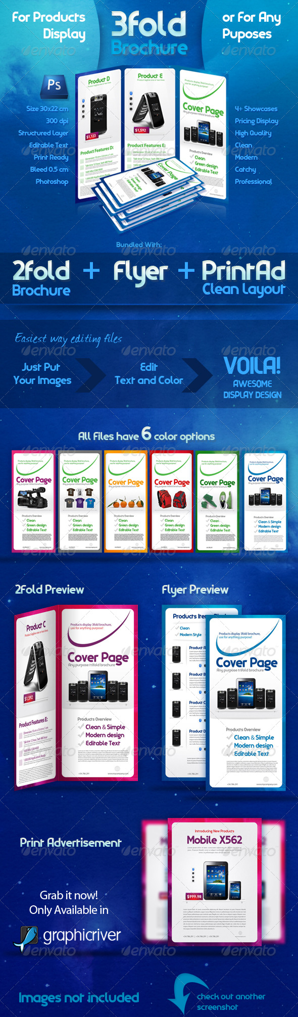 GraphicRiver 3 Fold Brochure Template with 6 Color Variations 161386