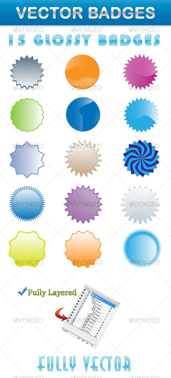 Glossy Vector Badges - Miscellaneous Vectors