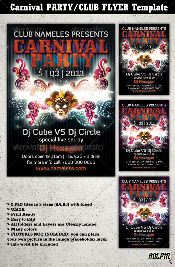 Carnival Party/Club Flyer Template 2 - Clubs & Parties Events