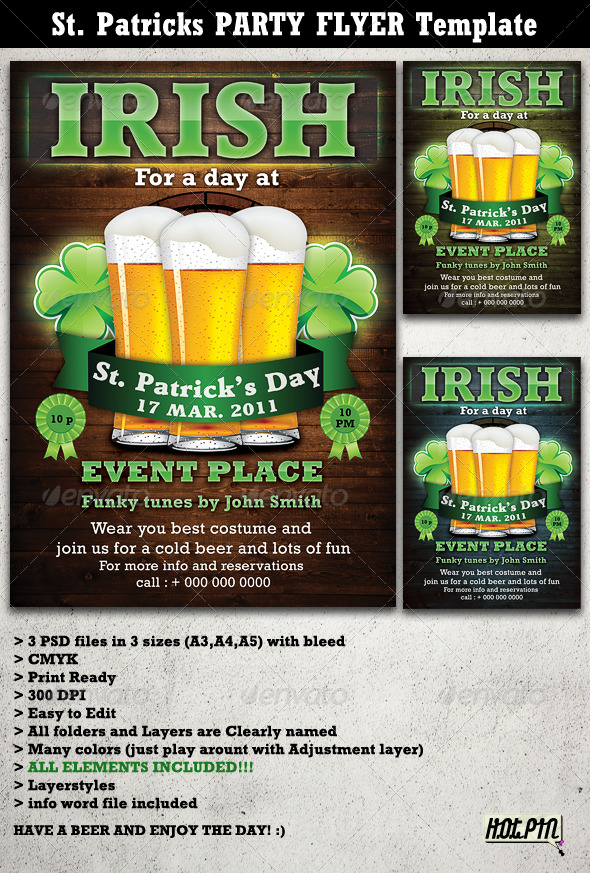 St. Patricks Party Flyer & Poster Template - Holidays Events