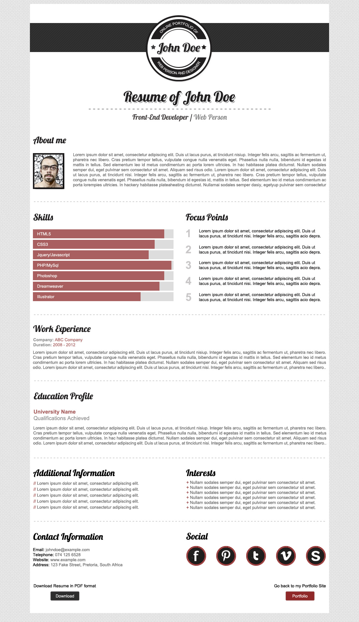 Primento One Page Portfolio - Screenshot of the HTML Resume