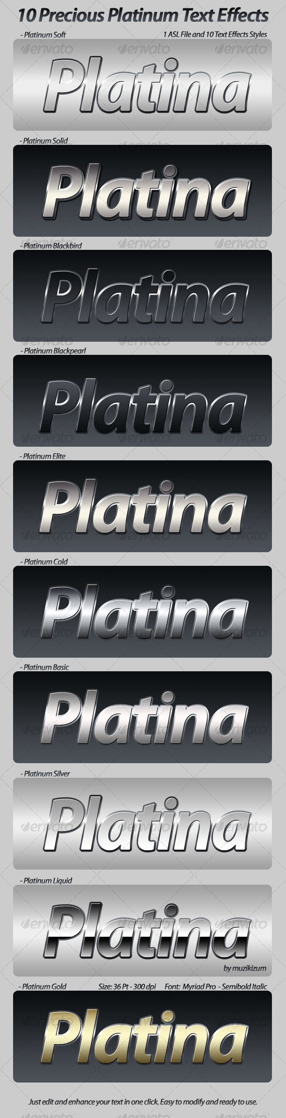 GraphicRiver Precious Platinum Photoshop Text Effects & Styles 81639