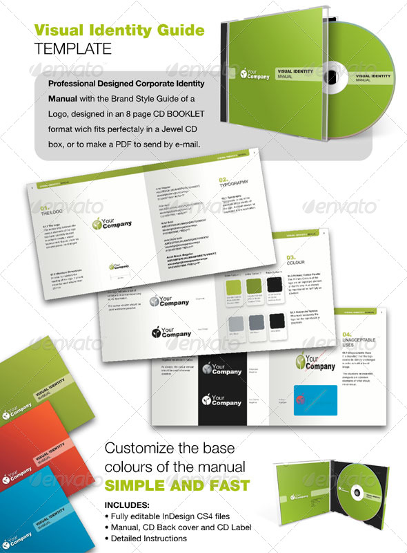 14 page logo and brand identity guidelines template for download.