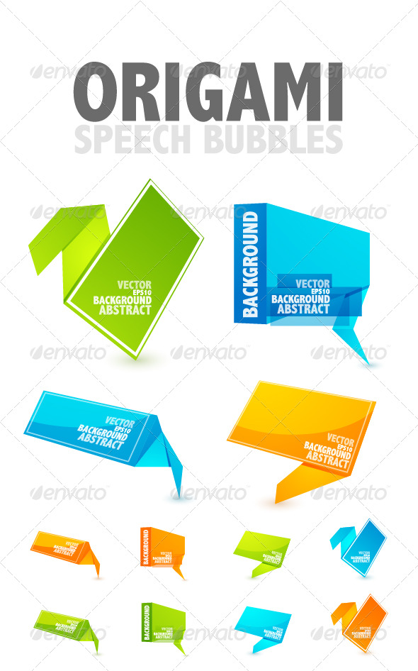Origami speech bubbles - Web Elements Vectors