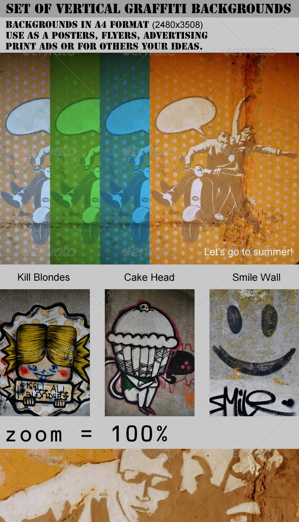 Set of Vertical Graffiti Backgrounds - Miscellaneous Textures