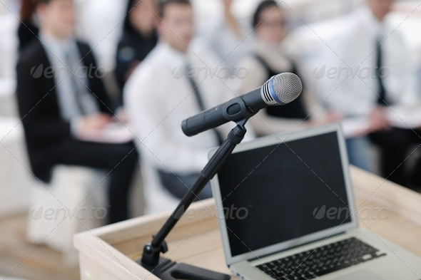 Stock Photo - PhotoDune laptop on conference speech podium 2297011