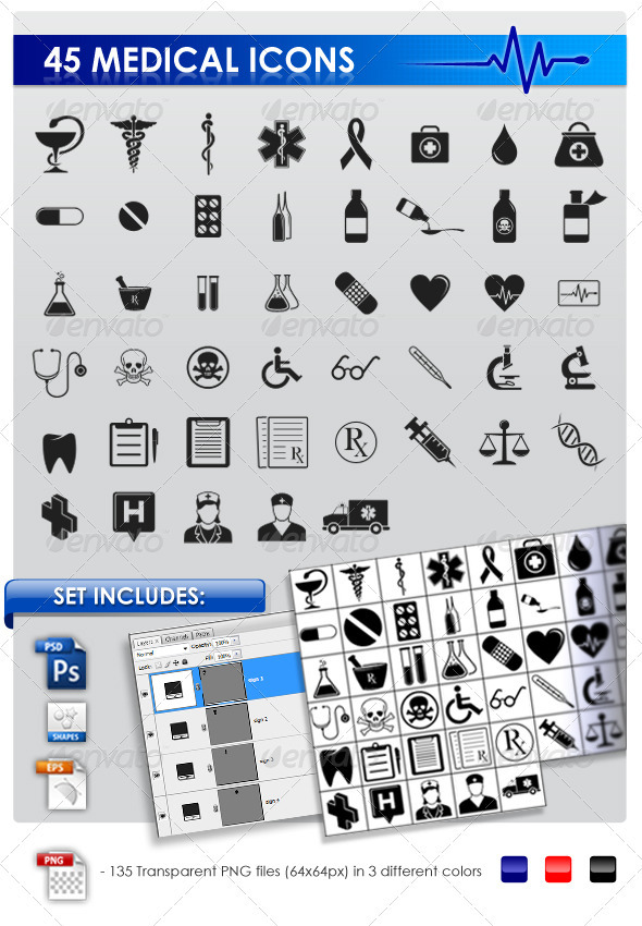 GraphicRiver 45 Medical icons 246496