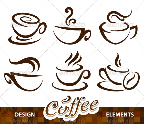 Vector set of coffee design elements - Decorative Symbols Decorative