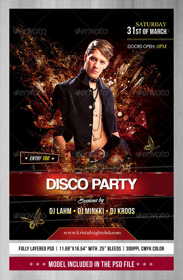 A3 Disco Party Poster/Flyer - Flyers Print Templates