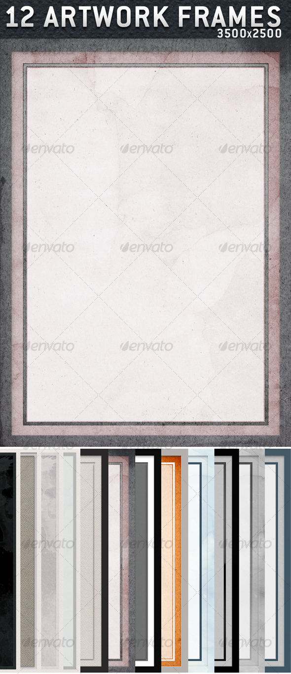12 Artwork Frames with Paper Texture in 3500x2500 - Backgrounds Decorative