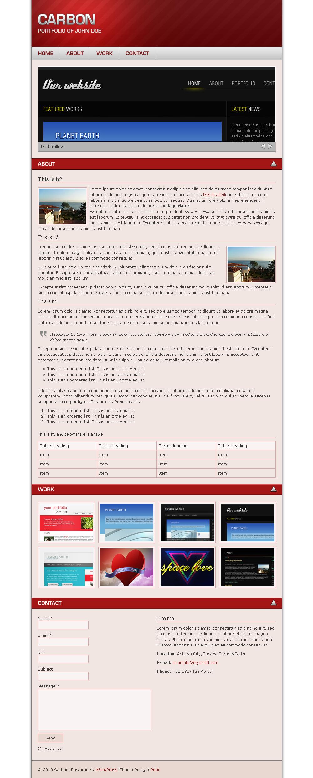 Carbon One Page Portfolio - WordPress
