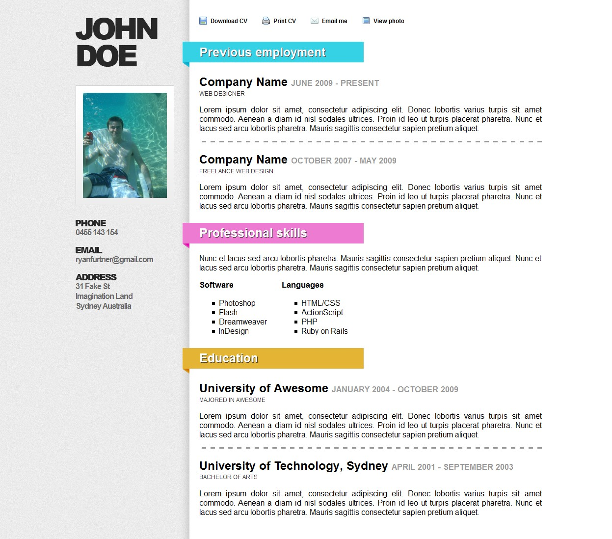 Awesome Online Resume/CV - This is the full Resume/CV with colored ribbon headings. there are a few different colors to choose from or the default gray ribbons.