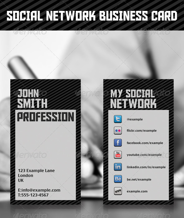Social Network Business Card - Industry Specific Business Cards