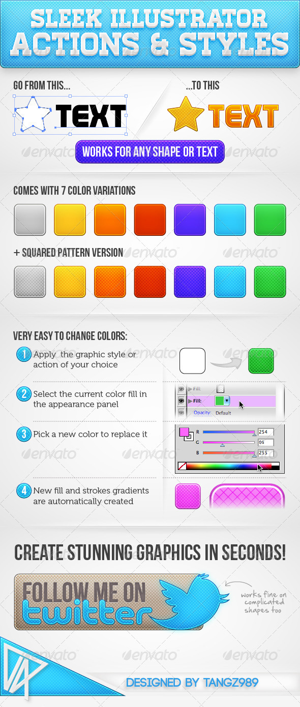 GraphicRiver Sleek Illustrator Actions & Styles 2182106