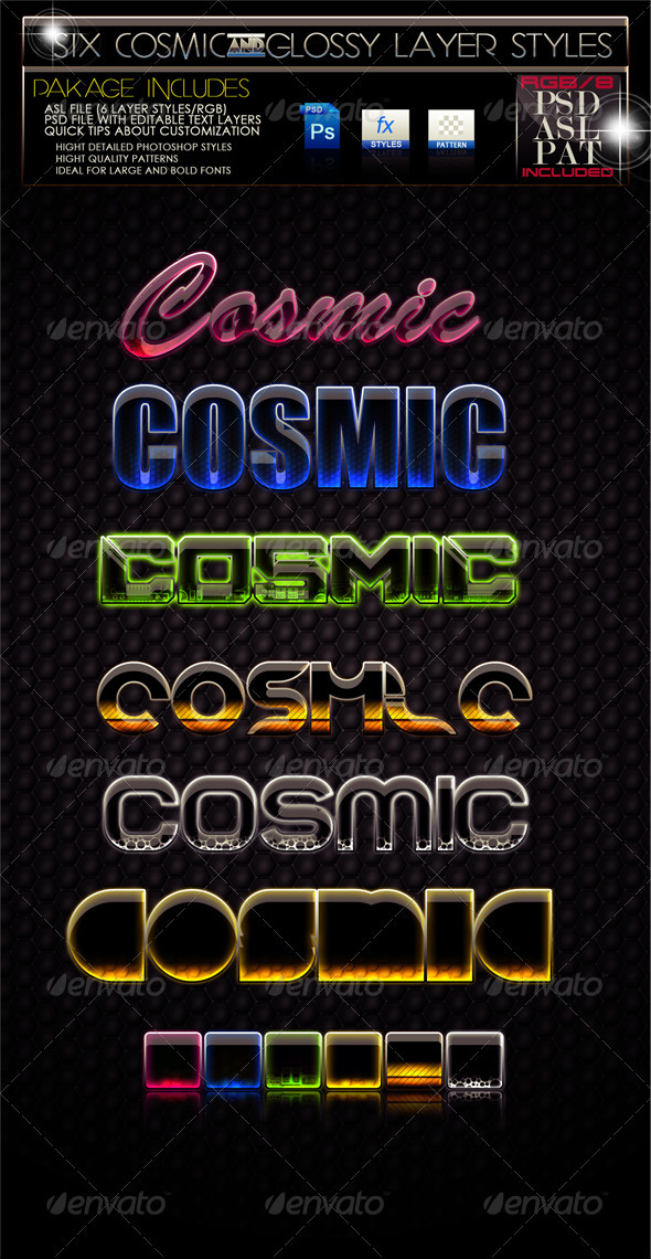 GraphicRiver Glossy Cosmic Layer Styles 247553