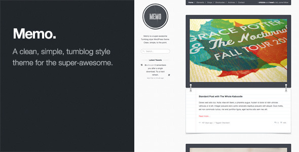 ThemeForest Memo Tumblog Style WordPress Theme 674465