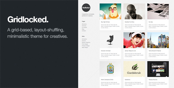 Gridlocked: Minimalistic WordPress Portfolio Theme
