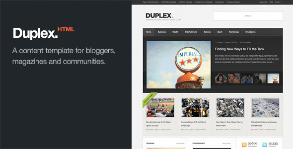 Duplex - Magazine / Community / Blog Template - Entertainment Site Templates