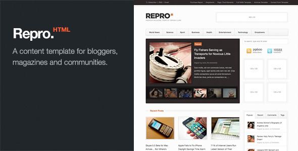 Repro - Premium News / Magazine HTML Template