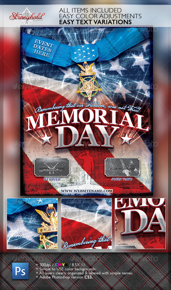 Memorial Day Patriotic Flyer Template - Holidays Events