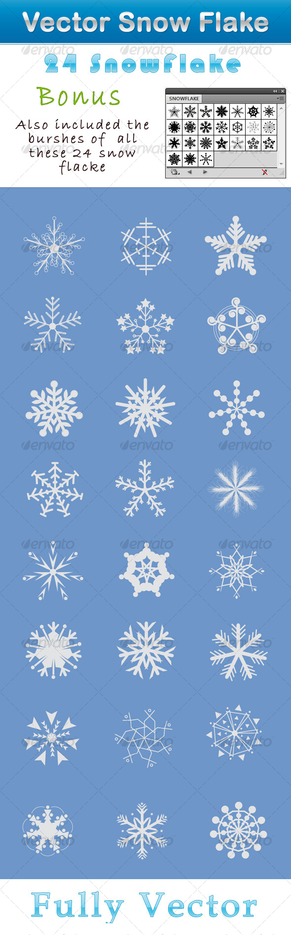24 Snowflake - Decorative Symbols Decorative