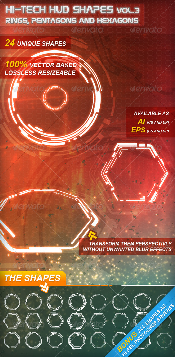 GraphicRiver Hi-Tech HUD Shapes Vol.3 2032689