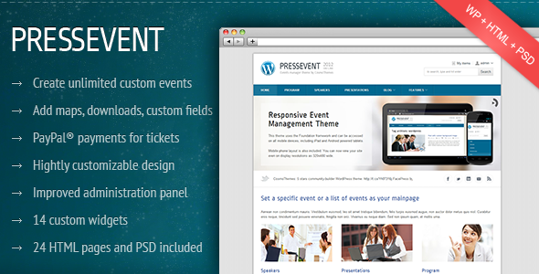 ThemeForest PressEvent Event Management Theme WordPress Corporate 2196163