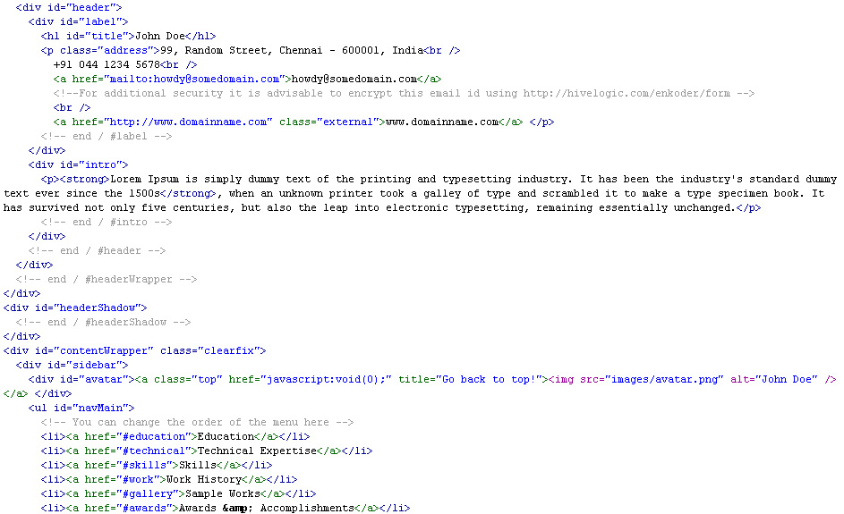 Resume (CV) Perfecto - The html is clean, commented and semantic.