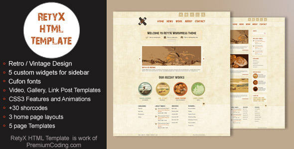 ThemeForest RetyX HTML Retro Vintage Website Template 2198617