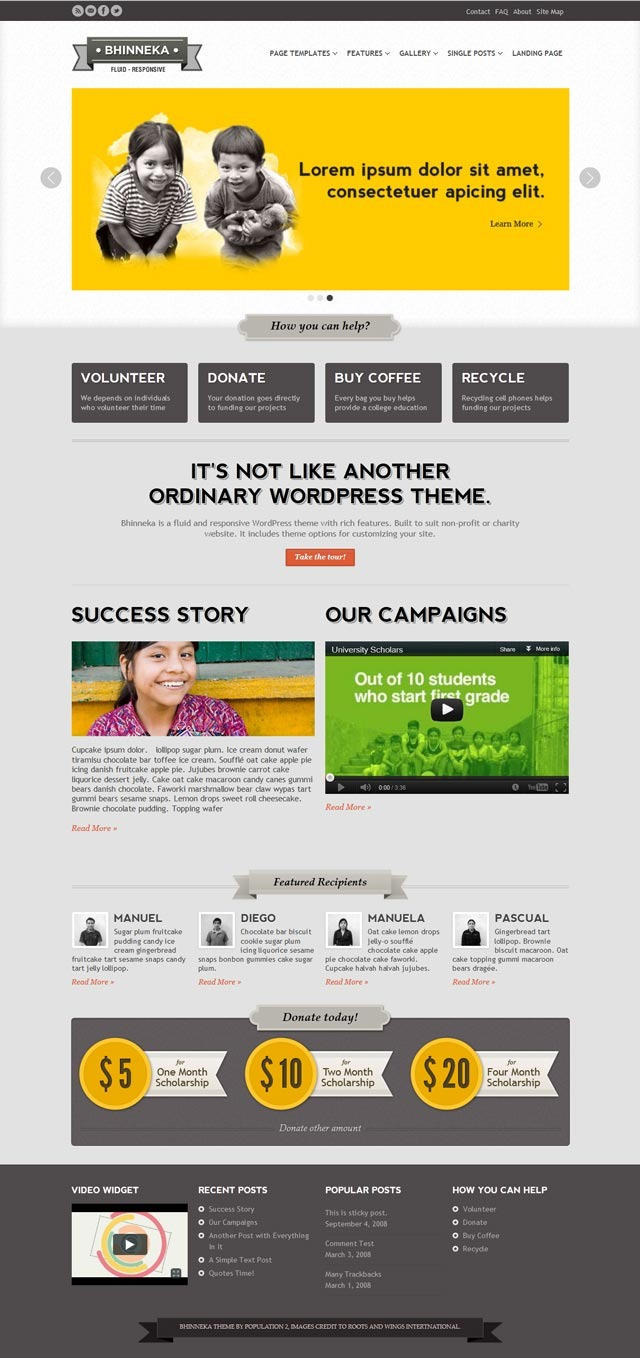 Bhinneka - a Responsive WordPress Theme - Home page - style 2