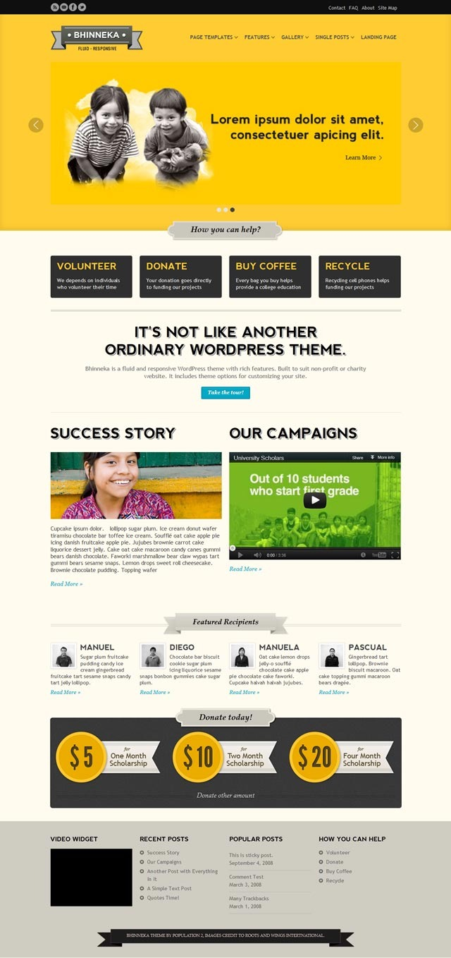 Bhinneka - a Responsive WordPress Theme - Home page - style 3