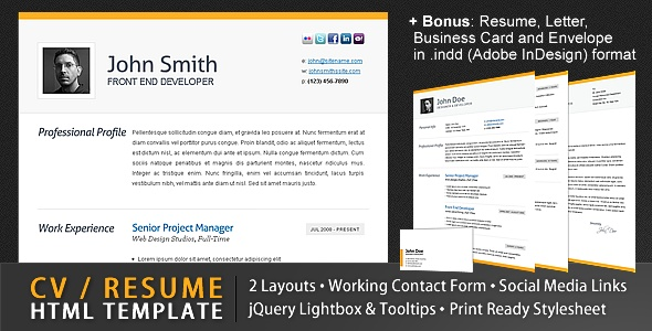 Clean CV / Resume Html Template + 4 Bonuses!