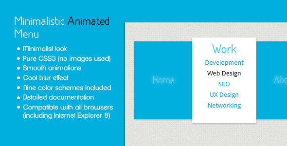 Minimalistic Animated Menu - CodeCanyon Item for Sale
