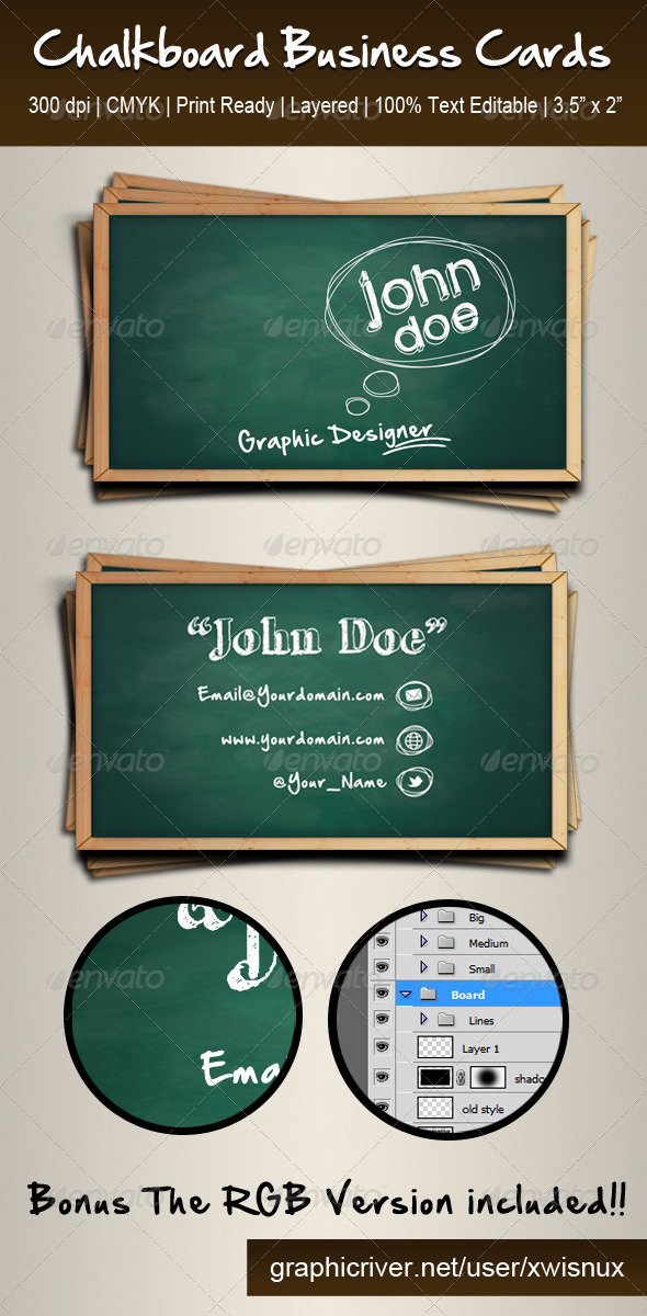 Chalkboard Business Cards - Business Cards Print Templates