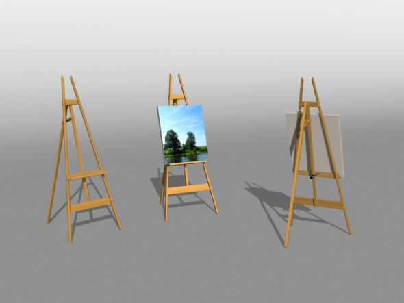3DOcean Artist Easel 3D Models -  Deco Objects 82534