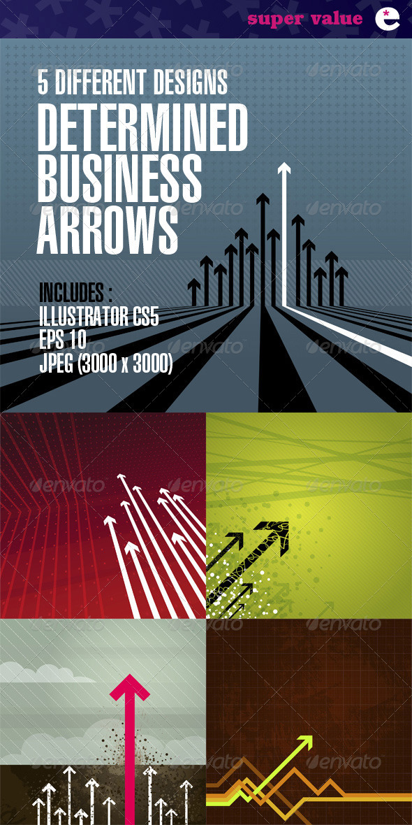 GraphicRiver Determined Arrows Pack of 5 Designs 2204755