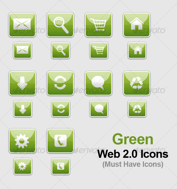 GraphicRiver Green WEB 2.0 Icons 82643