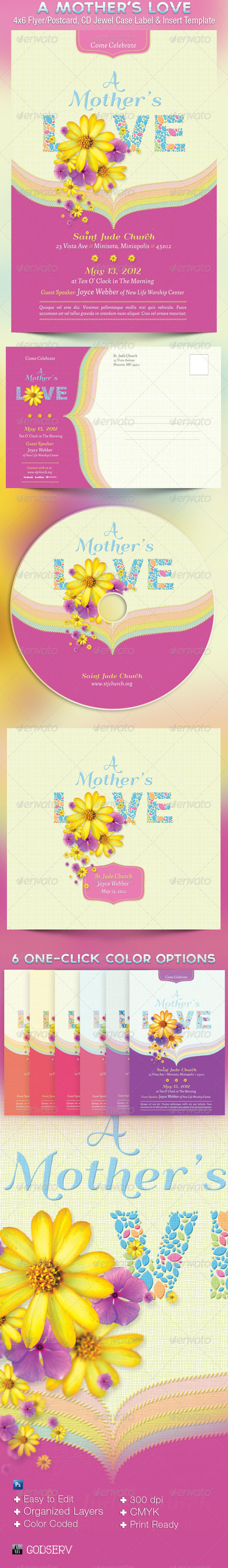 A Mother's Love Flyer, Postcard and CD Template - Church Flyers