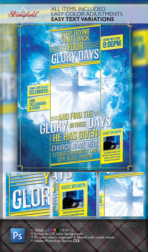 Glory Days Church Flyer Template - Church Flyers