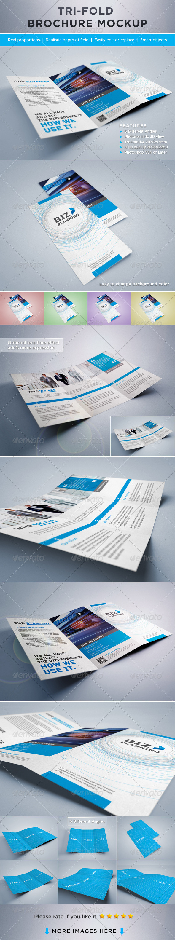 GraphicRiver Photorealistic Tri-Fold Brochure Mock-ups 2206979