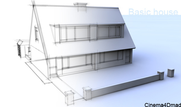 3DOcean 3D basic house cinema 4d 2204459