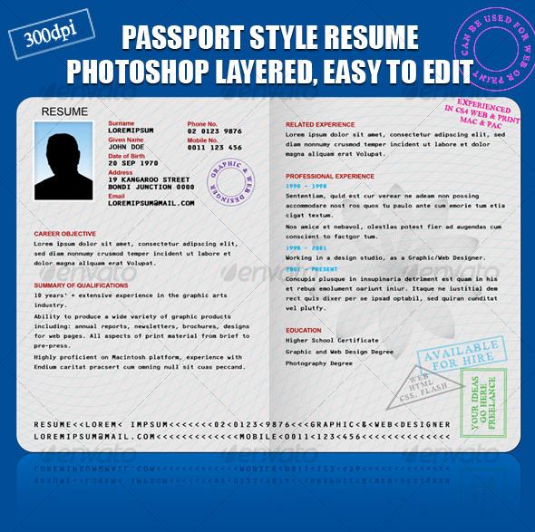 RESUME CV PASSPORT STYLE