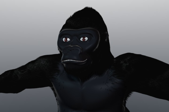 3DOcean Gorilla with hair particles 82782