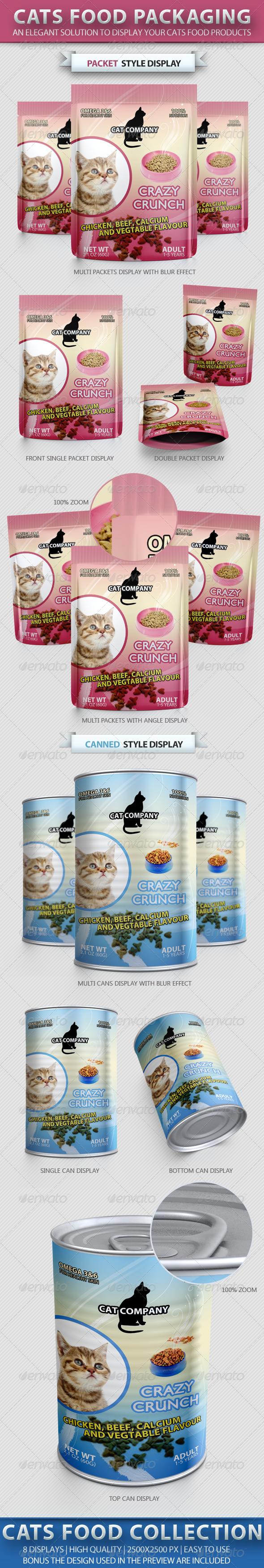 Cats Food Packaging Mock-up - Food and Drink Packaging