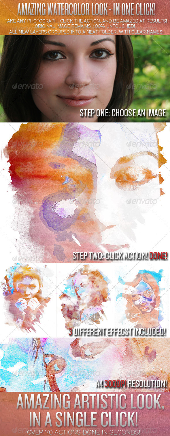 Creative Watercolor Photoshop Action - Photo Effects Actions